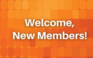 Welcome new members orange graphic